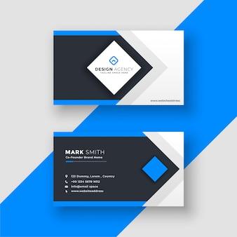 Impressionante design geometrico blu biglietto da visita