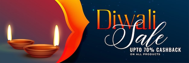 Impressionante diwali in vendita banner design background