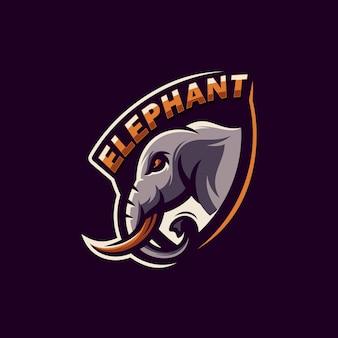 Impressionante elefante logo design vettoriale