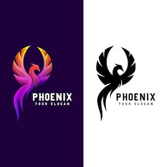 Impressionante fenice gradiente logo illustrazione due versione