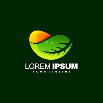 Impressionante foglia logo design vettoriale