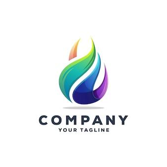 Impressionante goccia d'acqua logo design vettoriale