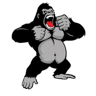 Impressionante gorilla in piedi