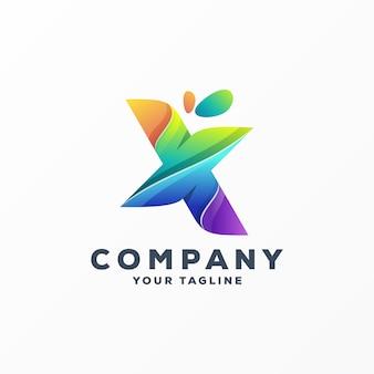 Impressionante lettera x logo design vettoriale