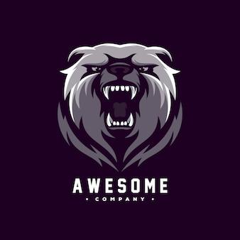 Impressionante orso logo design vettoriale