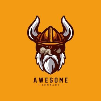 Impressionante vichingo logo design vettoriale