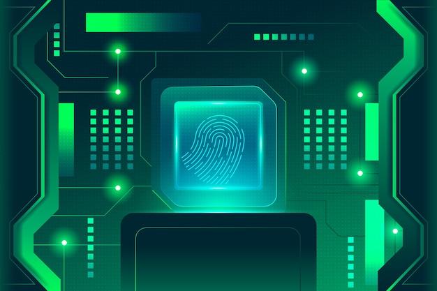 Impronta digitale al neon di sfondo