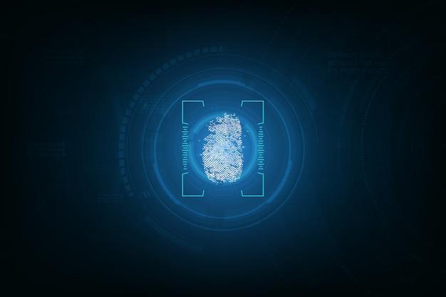 Impronta digitale integrata in uno sfondo di circuito stampato