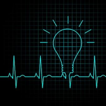 Impulso della lampadina come un battito cardiaco, concetto di idea di business