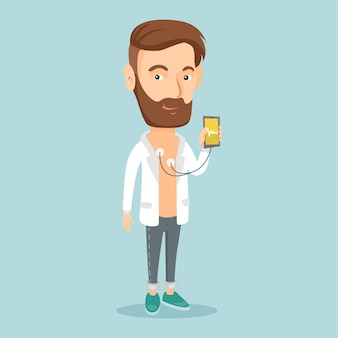 Impulso di misurazione della frequenza cardiaca dell'uomo con lo smartphone.