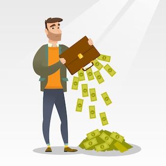In bancarotta che scuote i soldi dalla sua valigetta.