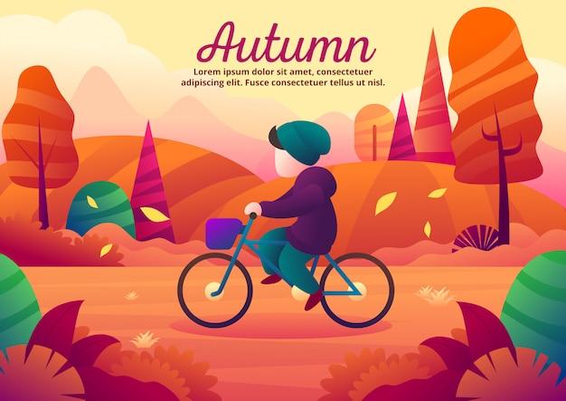 In bicicletta da solo durante l'illustrazione vettoriale stagione autunnale