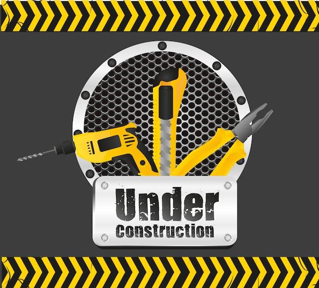 In costruzione su nero con strisce gialle
