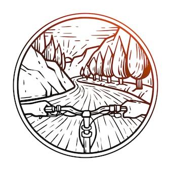 In sella a una bicicletta distintivo di vettore premium