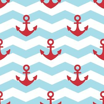 In vacanza estiva, ancoraggio rosso su sfondo bianco e strisce blu
