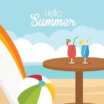 In vacanza estiva, banner happy estate con ciao testo estivo