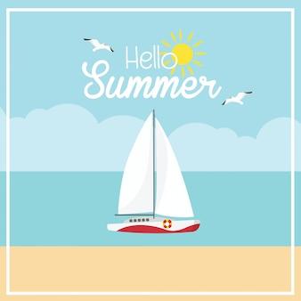 In vacanza estiva barca a vela e spiaggia