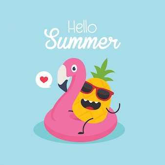 In vacanza estiva, illustrazione vettoriale, fenicottero gonfiabile con un ananas in una piscina
