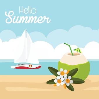 In vacanza estiva, spiaggia paradisiaca del mare con yacht e cocco con bibita fresca