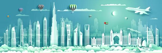 In viaggio negli emirati arabi uniti con edificio moderno, skyline, grattacielo.