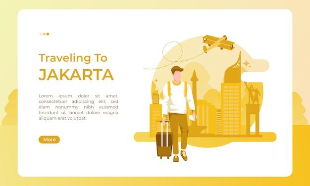 In viaggio verso la città di jakarta, illustrata con un tema festivo per una giornata turistica