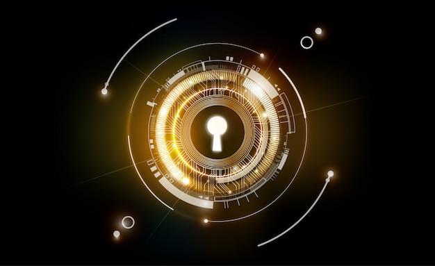 Incandini il fondo futuristico astratto della tecnologia del buco della serratura con leggero e brillante, chiave della soluzione di successo, il concetto di affari, illustrazione
