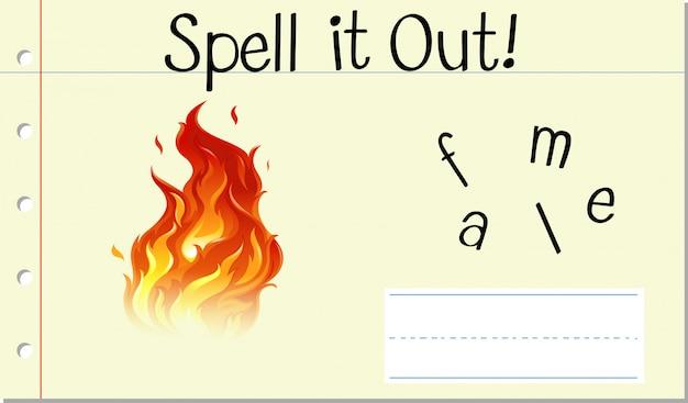 Incantesimo parola inglese fiamma