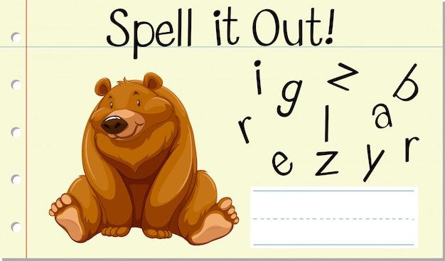 Incantesimo parola inglese orso grizzly