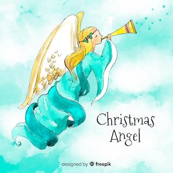 Incantevole angelo di natale ad acquerello