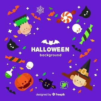 Incantevole sfondo di halloween con design piatto