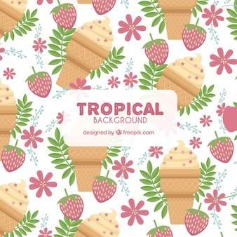 Incantevole sfondo tropicale con design piatto