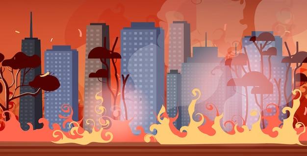 Incendi boschivi in australia incendi boschivi via della città con grattacieli bushfire disastro naturale concetto intenso arancione fiamme paesaggio urbano