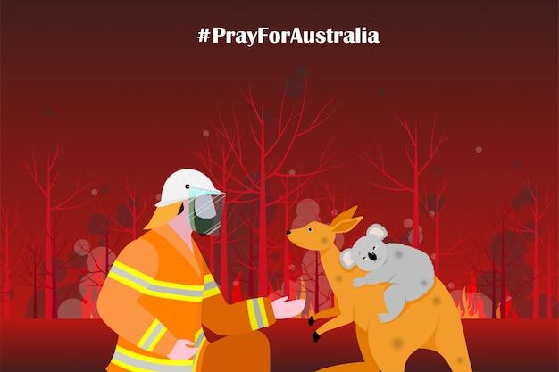 Incendio forestale di problemi nell'illustrazione dell'australia