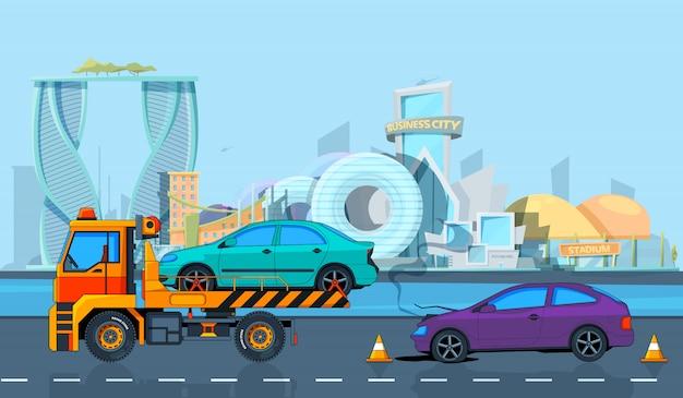 Incidente durante il trasporto nel paesaggio urbano. sfondo in stile cartone animato