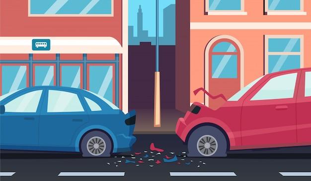 Incidente su strada. autista di automobile veloce autostrada incidente danneggiato sfondo del fumetto di trasporto
