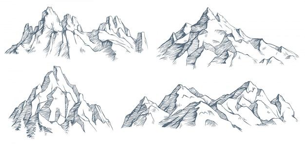Incisione del picco di montagne. schizzo inciso d'epoca della valle con paesaggio montano e alberi della vecchia foresta. illustrazione
