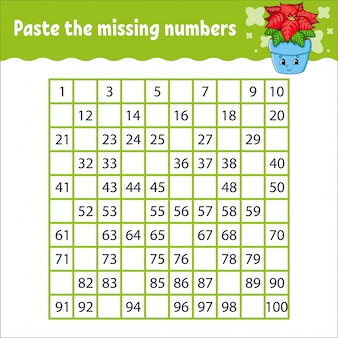 Incolla i numeri mancanti da 1 a 100. pratica della scrittura a mano. imparare i numeri per i bambini.