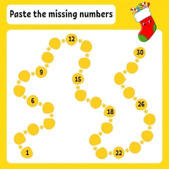 Incolla i numeri mancanti. pratica della scrittura a mano. imparare i numeri per i bambini. foglio di lavoro per lo sviluppo dell'istruzione.