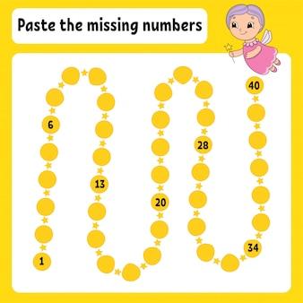 Incolla i numeri mancanti. pratica della scrittura a mano. imparare i numeri per i bambini.