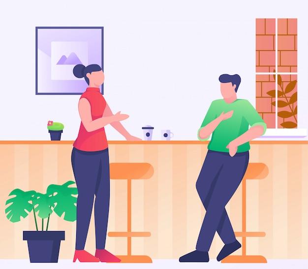 Incontrare l'amico nell'illustrazione del caffè