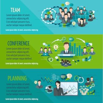 Incontrare persone banner orizzontale impostato con la progettazione di team di conferenze isolato illustrazione vettoriale