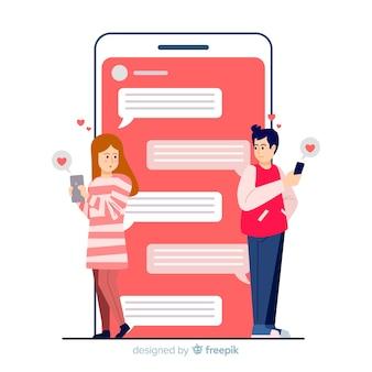 Incontri il concetto di app con sconosciuti in chat