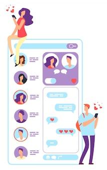 Incontri online uomo e donna. coppia in chat con l'applicazione del telefono o del sito web.