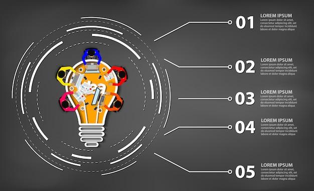 Incontro d'affari. ispirazione della creatività progettando il concetto di lampadina. lavoro di squadra