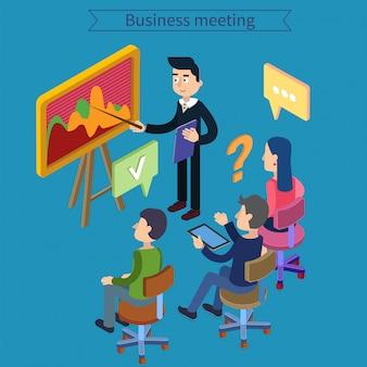 Incontro d'affari. lavoro di gruppo. uomo con tavoletta. pianificazione del lavoro. vita in ufficio. corso di formazione. concetto isometrica