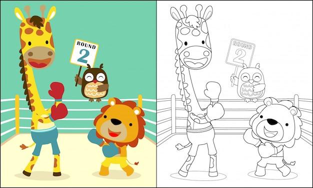 Incontro di boxe divertente con simpatici animali