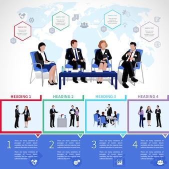 Incontro infografiche persone impostato con analisi briefing di collaborazione