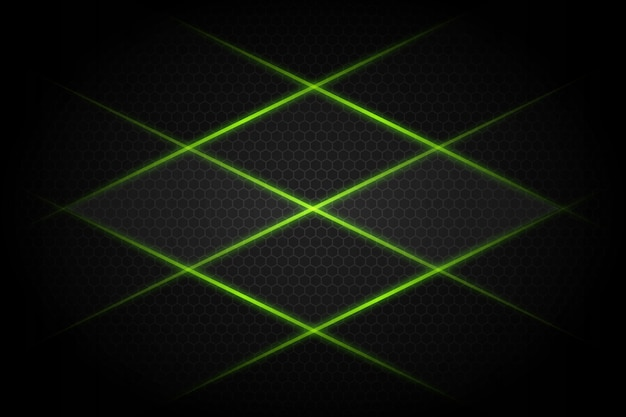 Incrocio astratto della linea di luce verde sul fondo futuristico moderno di progettazione grigio scuro dello spazio