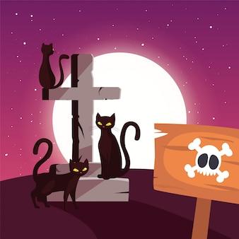 Incrocio cristiano con i gatti neri nella scena di halloween