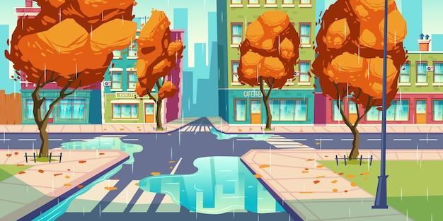 Incrocio della città nel tempo di autunno, intersezione vuota